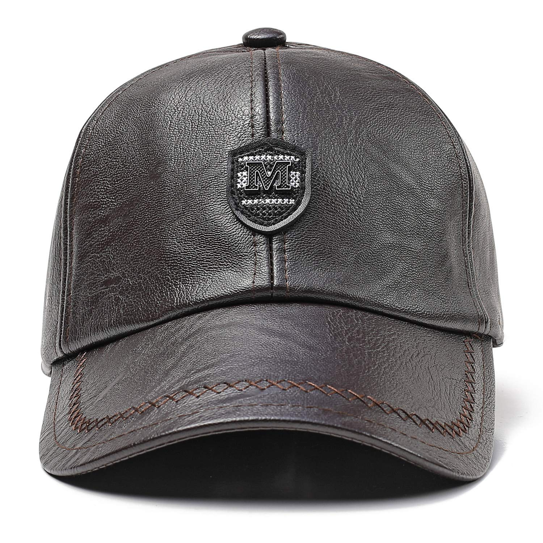 45ab32e535b GESDY Men's Adjustable PU Leather Baseball Cap Foldable Earflaps ...