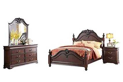 Amazon.com: Momeyer French Country 4PC Bedroom Set Cal King ...