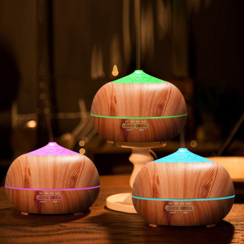 400ml Ultraschall Diffuser aus Holz mit 7 Farben LED Lichter