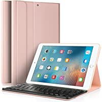 IVSO Apple New iPad 9.7 Teclado Estuche [Teclado QWERTY], Wireless Keyboard Case Funda Ultra fino Slim SmartShell con Magnético Desmontable Teclado Bluetooth Inalámbrico Utilizando Altura ajustable para Apple Nuevo iPad 9.7 2018/2017 Tablet (Oro Rosa)