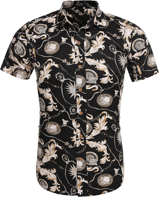 Coofandy Camisa Estampada Flor Tradicional Hombre Casual Manga Corta: Amazon.es: Ropa y accesorios