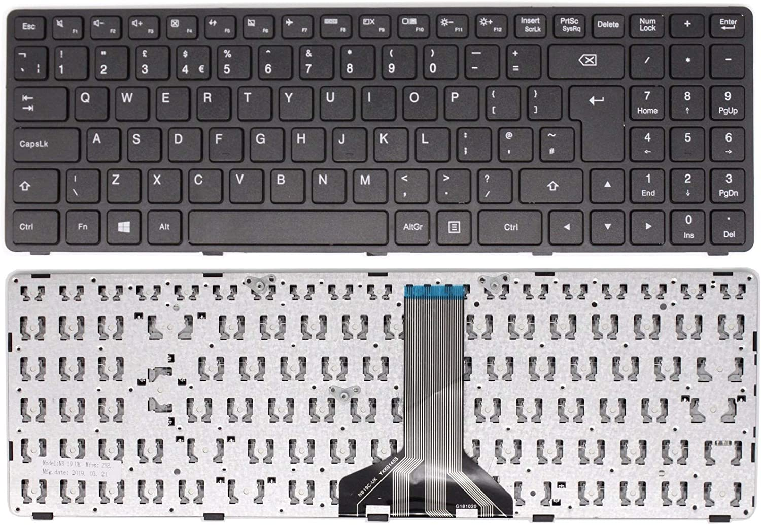 Wikiparts New Replacement UK Layout Keyboard for Lenovo Ideapad 100-15IBD Laptop Black English Keyboard with Middle Ribbon Connection