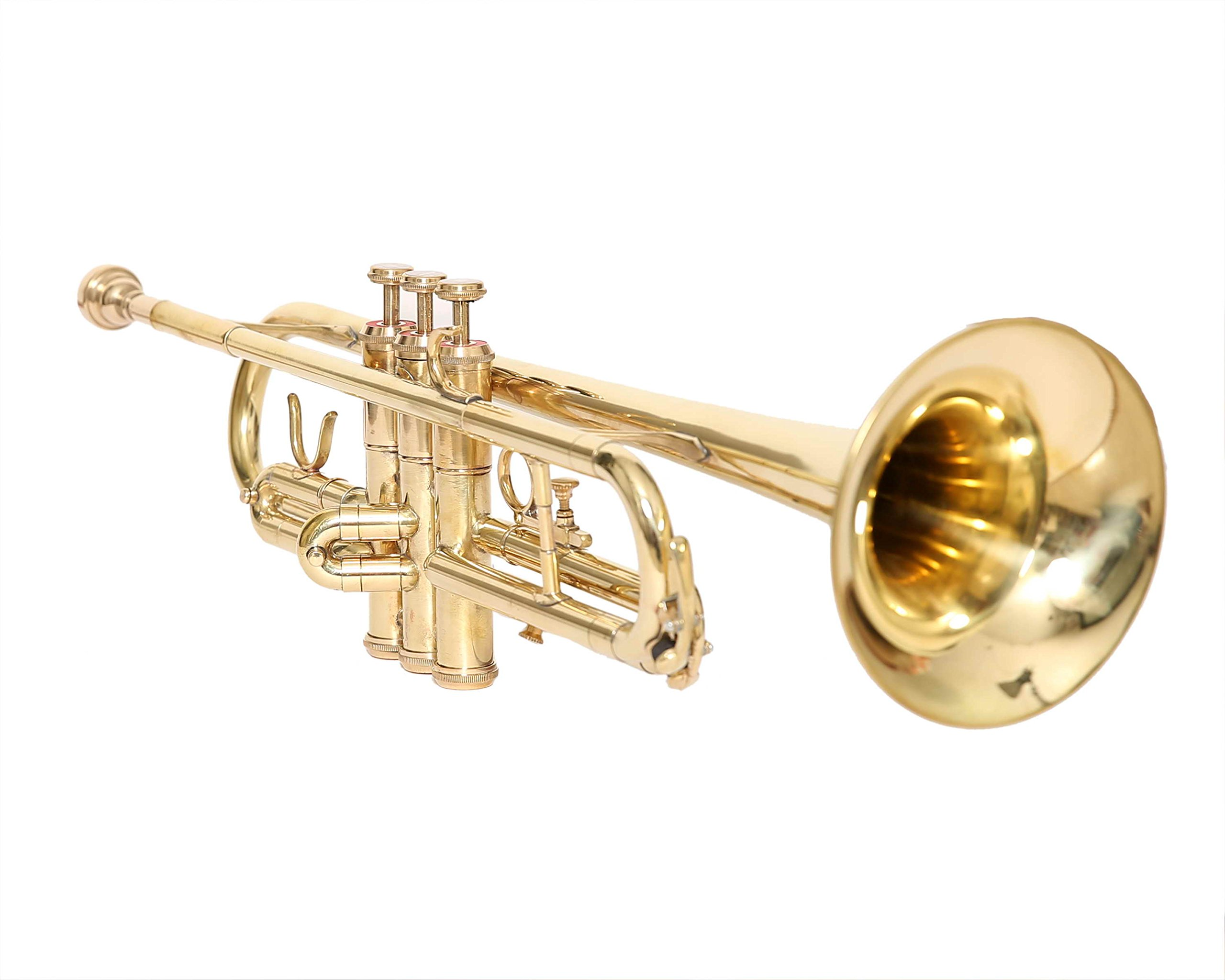 NASIR ALI TRUMPET Bb PITCH FOR SALE BRASS GOLD LOOK WITH FREE CASE AND MOUTHPIECE