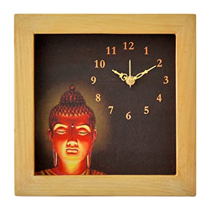 Designer Canvas Wall Clock With Wooden Frame With Beautiful Painting