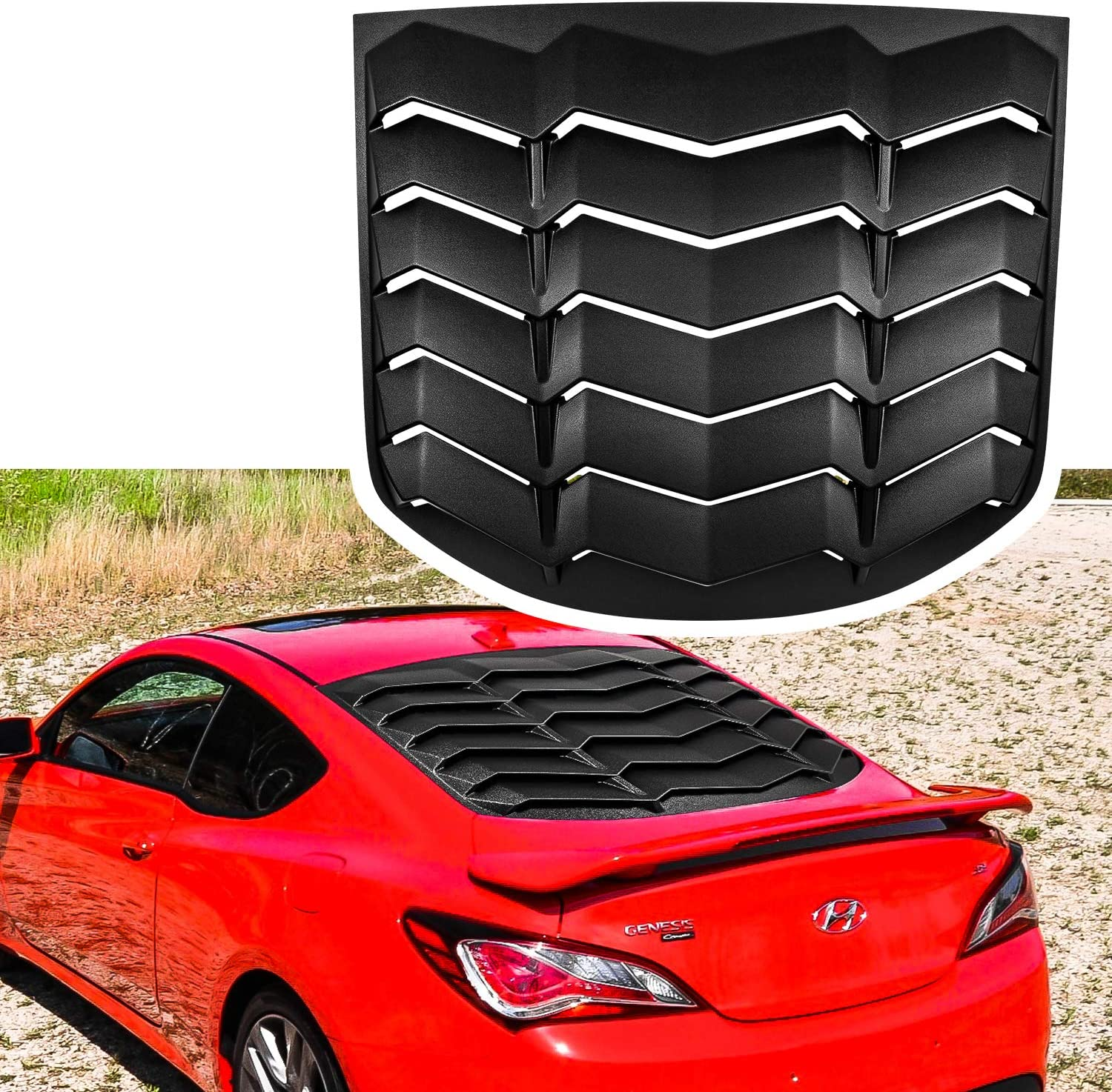 Matte Black Rear Window Louvers Sun Shade Cover in GT Lambo Style for 2010-2016 Hyundai Genesis Coupe