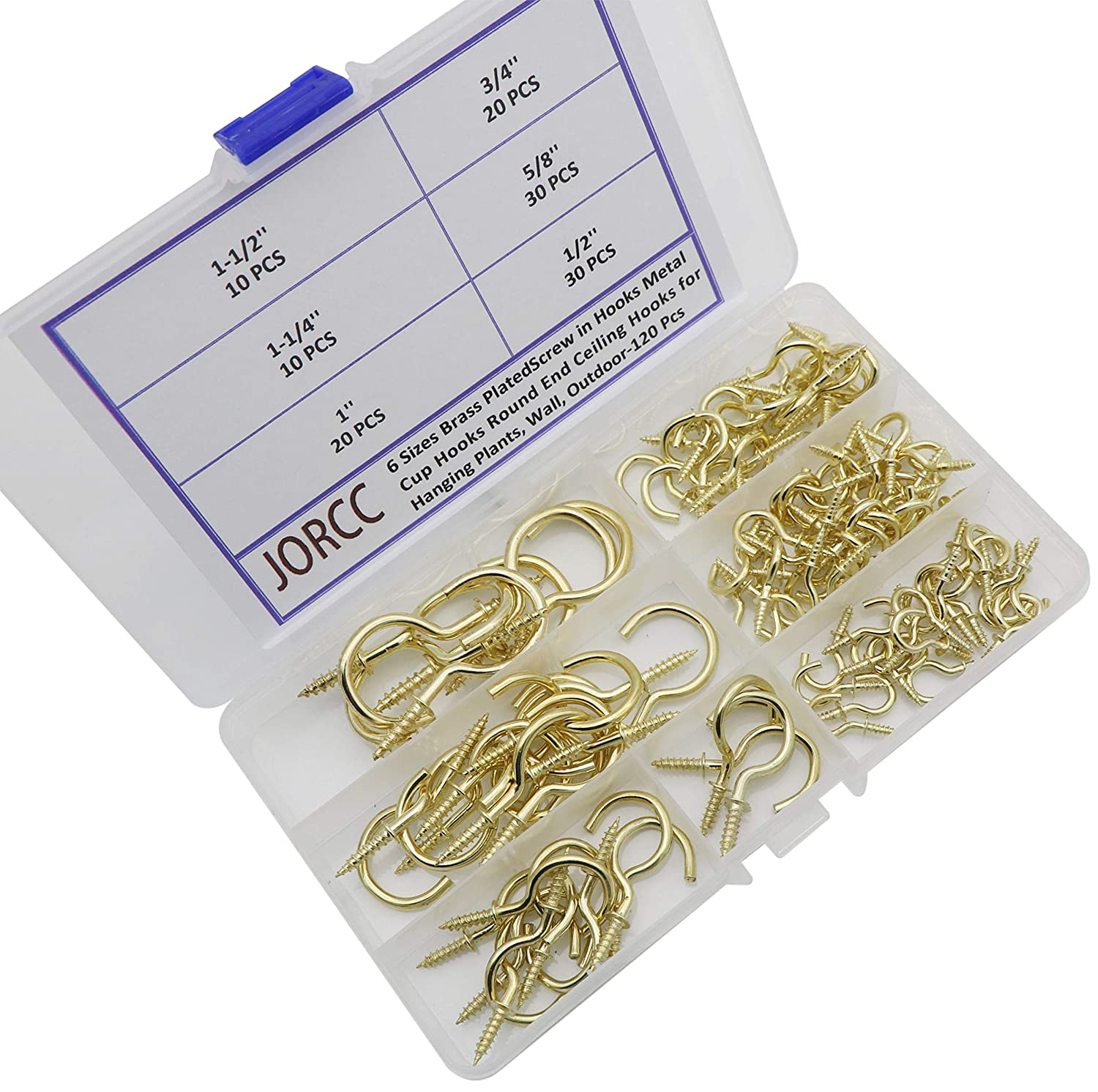 Light Mug Plant Cup Screw Hooks for Hanging 120 Pack Metal Ceiling Hooks Heavy Duty 6 Size Brass Plated Cup Hooks for Coffee Tea Cup