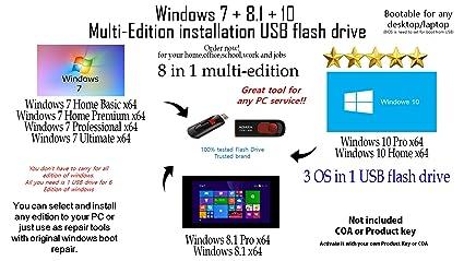 Multi-Edition USB 16GB Flash Drive Windows 7 + 8.1 + 10 X64 Bit All Edition Multi Installation Bootable USB flash drive 8 in 1 USB Drive for ...