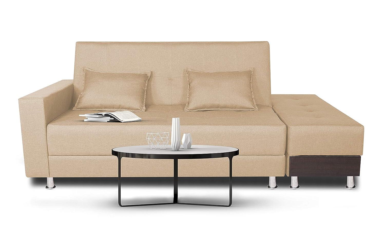 Adorn India Polyester Blend Flora Sofa Cum Bed (Beige, Standard Size)