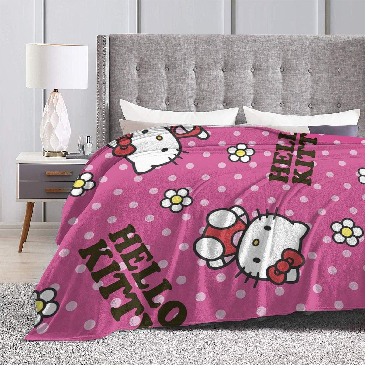 JIEKEME Flannel Blanket Hello Kitty Flower Soft Cozy Warm Throw Blanket for Bed Couch Chair Fall Winter Spring Living Room