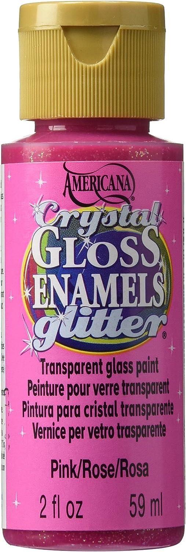 DecoArt Americana Crystal Gloss Enamel Glitter Paint, 2-Ounce, Pink