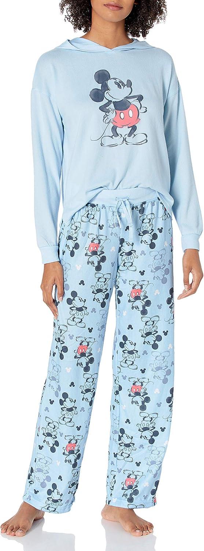 Disney Womens Ladies Mickey Mouse 2-Piece Pajama Set