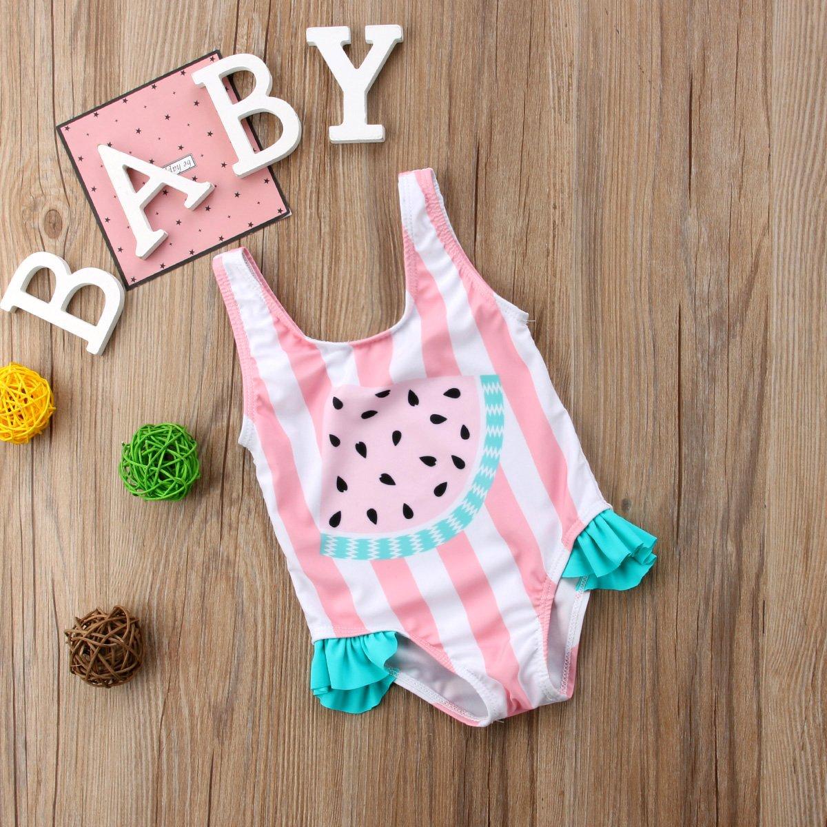 Newborn Toddler Baby Girl Floral Watermelon Swimsuit Striped Bathing Suit Bikini Cute Swimwear One Piece Beach Wear