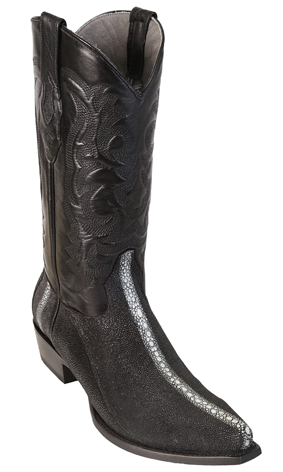 Men's Sinp Toe Row Stone Black Genuine Leather Stingray Skin Western Boots - Exotic Skin Boots