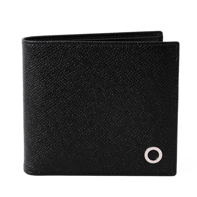(ブルガリ) BVLGARI 正規品 Wallets Italian レザー ウォレット 本革 二つ折り財布 30396 B077M8KHPF ブラック 名入れあり