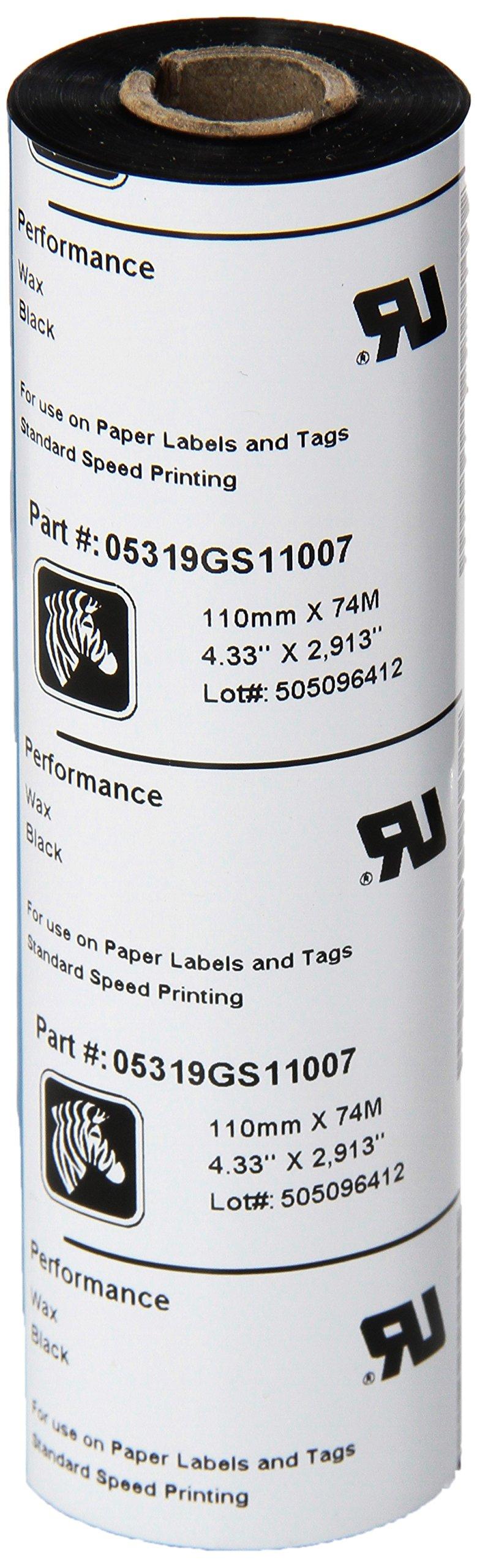 Zebra Technologies 05319GS11007 Wax Ribbon, 0.5'' Core for Desktop Printers, 4.33'' x 244', Black (Pack of 12)