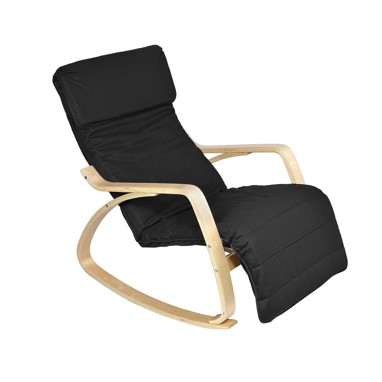 Mari Home Melton Black fortable Relaxing Rocking Lounge Chair