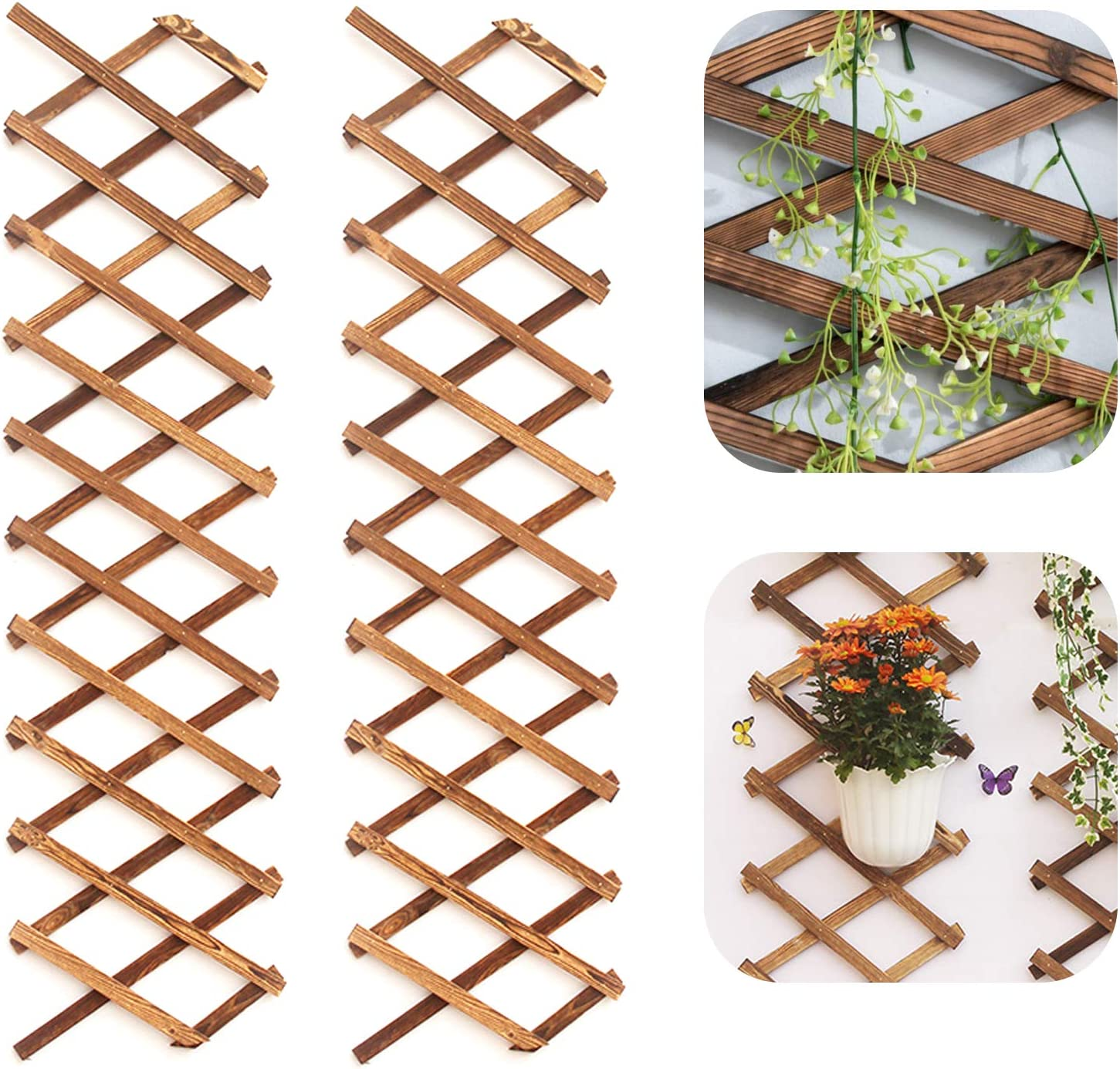 Iceyyyy 2Pack Wood Lattice Wall Planter - Expandable Hanging Wooden Planter Trellis Frame, Indoor Air Plant Vertical Rack Wall Decor for Room Garden