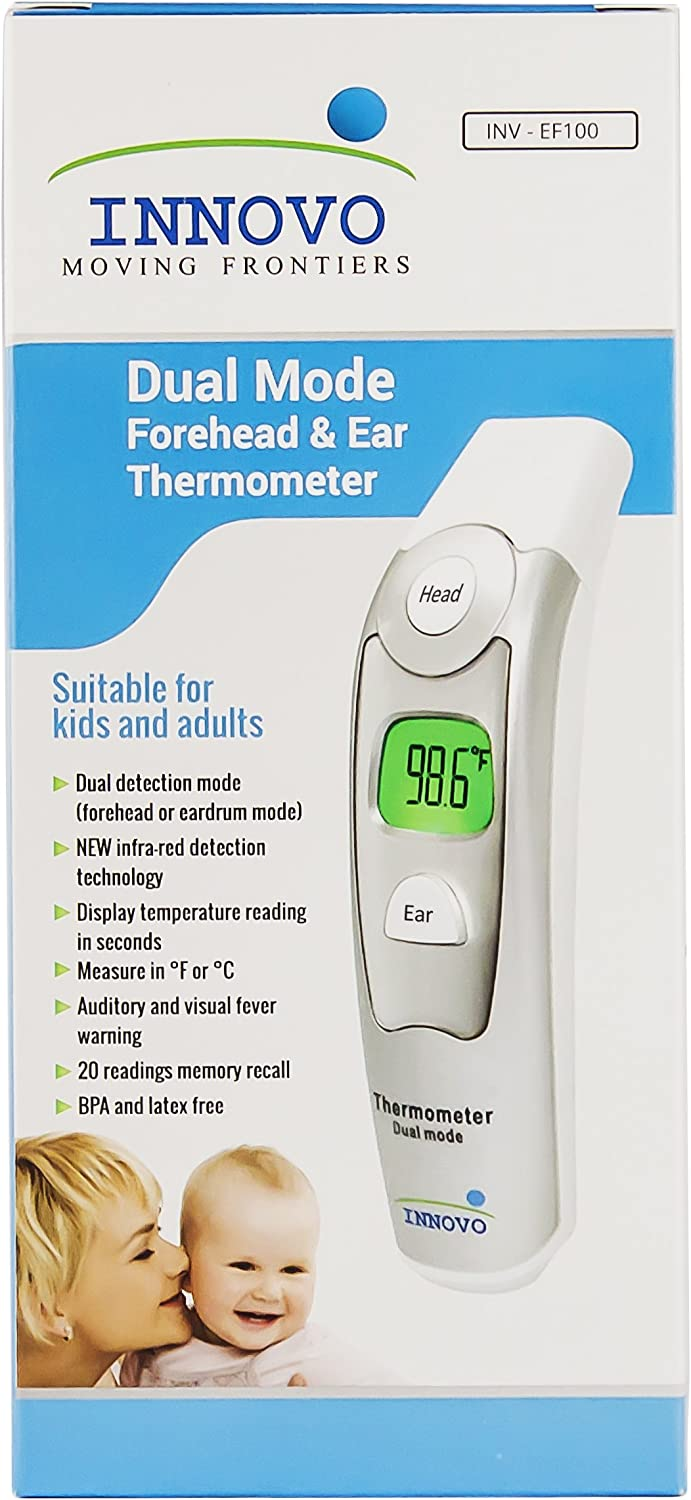 NEW Innovo INV-EF100 Forehead /& Ear Thermometer Dual Mode CE /& FDA Cleared