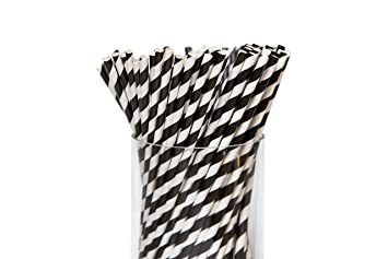 Bulk Biodegradable Paper Drinking Straws - Recyclable 100 Striped Paper  Straws for Milkshake Coffee