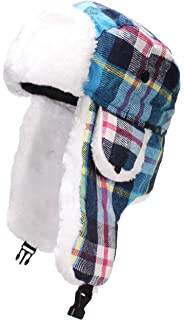 d5dec04aae8c1 Best Winter Hats Big Kids Quality Madras Plaid Russian Trapper Hat W Faux  Fur