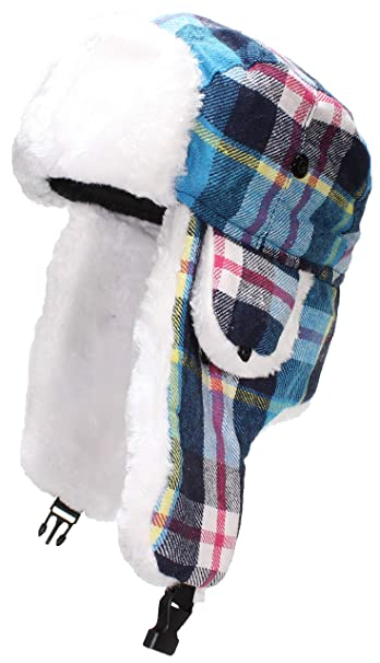 Best Winter Hats Big Kids Quality Madras Plaid Russian Trapper Hat W Faux  Fur 94e69cbff4e