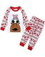 Toddler Boys Girls Deer Stripes Sleepwear Nightwear Pajamas Set Two Piece