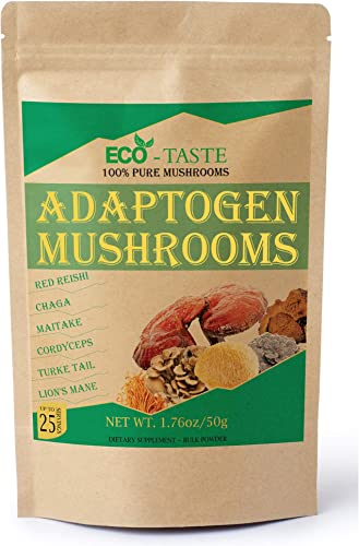 Mushroom Powder Blend Extract Supplement, 100 Pure Fruiting Body, Beta-D-Glucans 30 , 50g