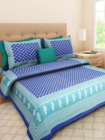 8d7e44e721b Uniqchoice Jaipuri Print 100% Cotton Rajasthani Tradition King Size Double  Bedsheet With 2 Pillow Cover