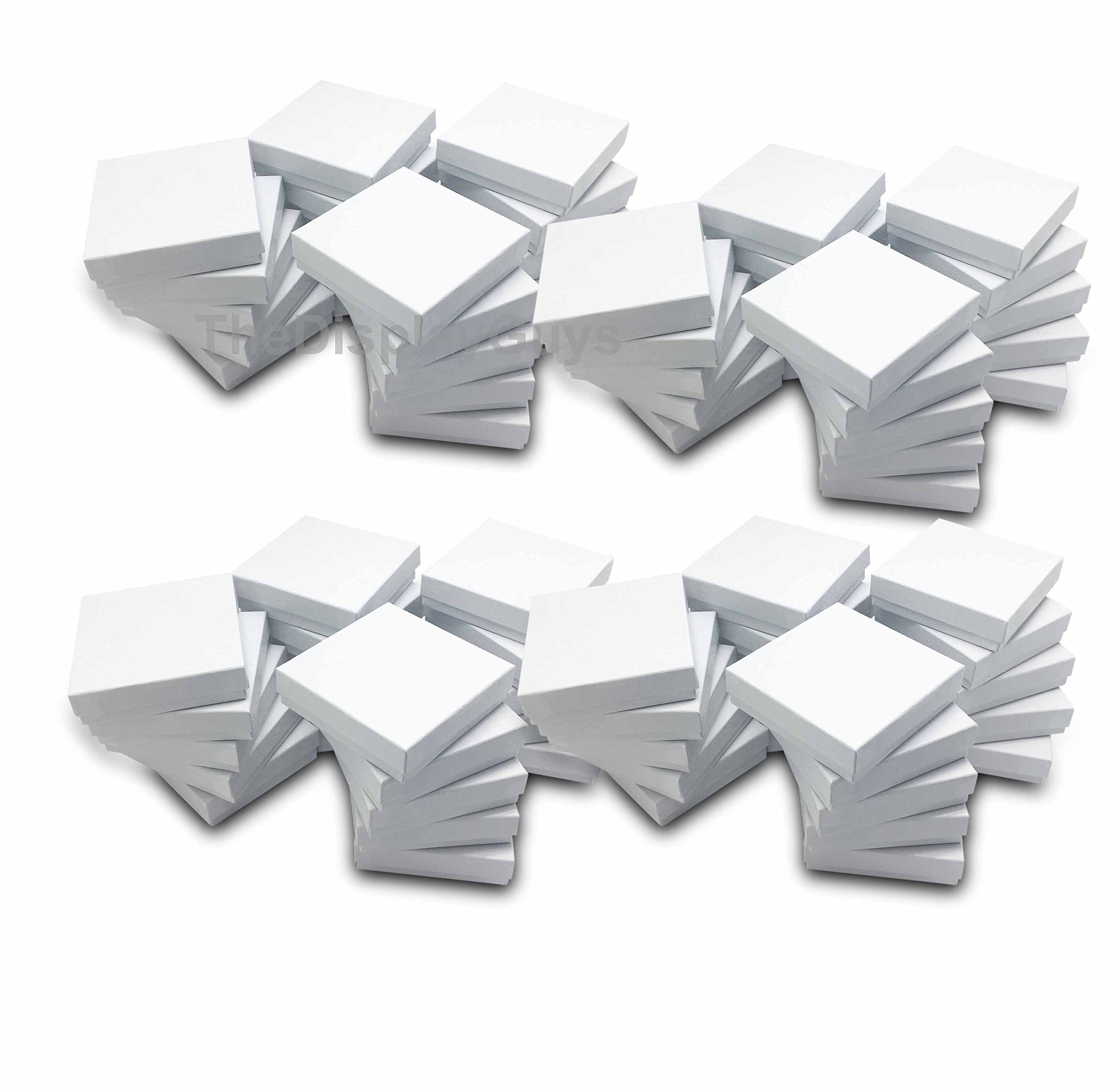 The Display Guys~ Pack of 100 Cotton Filled Cardboard Paper White Jewelry Box Gift Case -White swirl (3 1/2x3 1/2x1 inches #33) by The Display Guys