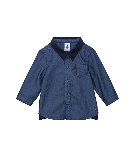 e5f0c6895 Petit Bateau - Camisa con Cuello Barco de Manga Larga para bebé ...