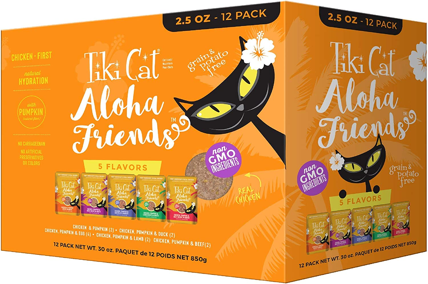 Tiki Pets Aloha Friends Grain Free Wet Food Shredded Chicken for Cat and Kittens Variety Pack, 12 Pouches 2.5oz