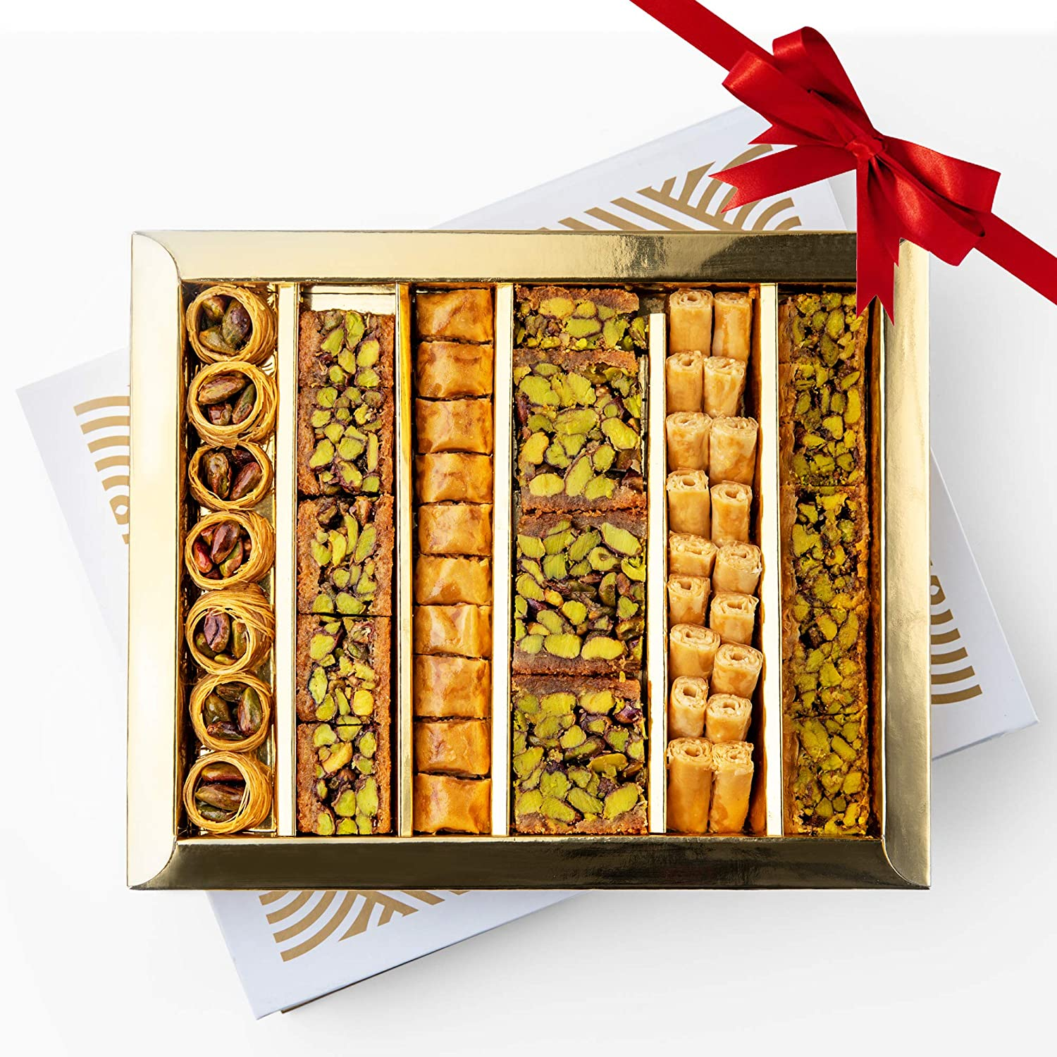 HL Assorted Sweets Gift Box - Baklava, Pistachio and Almond - Authentic Middle East Sweets - Elegant Gift Box (Assorted, Large)