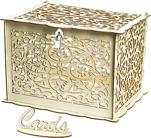vlovelife Caja de Madera para Tarjetas de Boda, Caja rústica Hueca ...