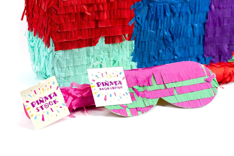 Hochzeit Pi/ñata f/ür Kindergeburtstag Spiel Ideal zum Bef/üllen mit S/ü/ßigkeiten und Geschenken Geschenkidee Pinjatta Augenmaske Party Trendario Zahl 5 Pinata Set Stab