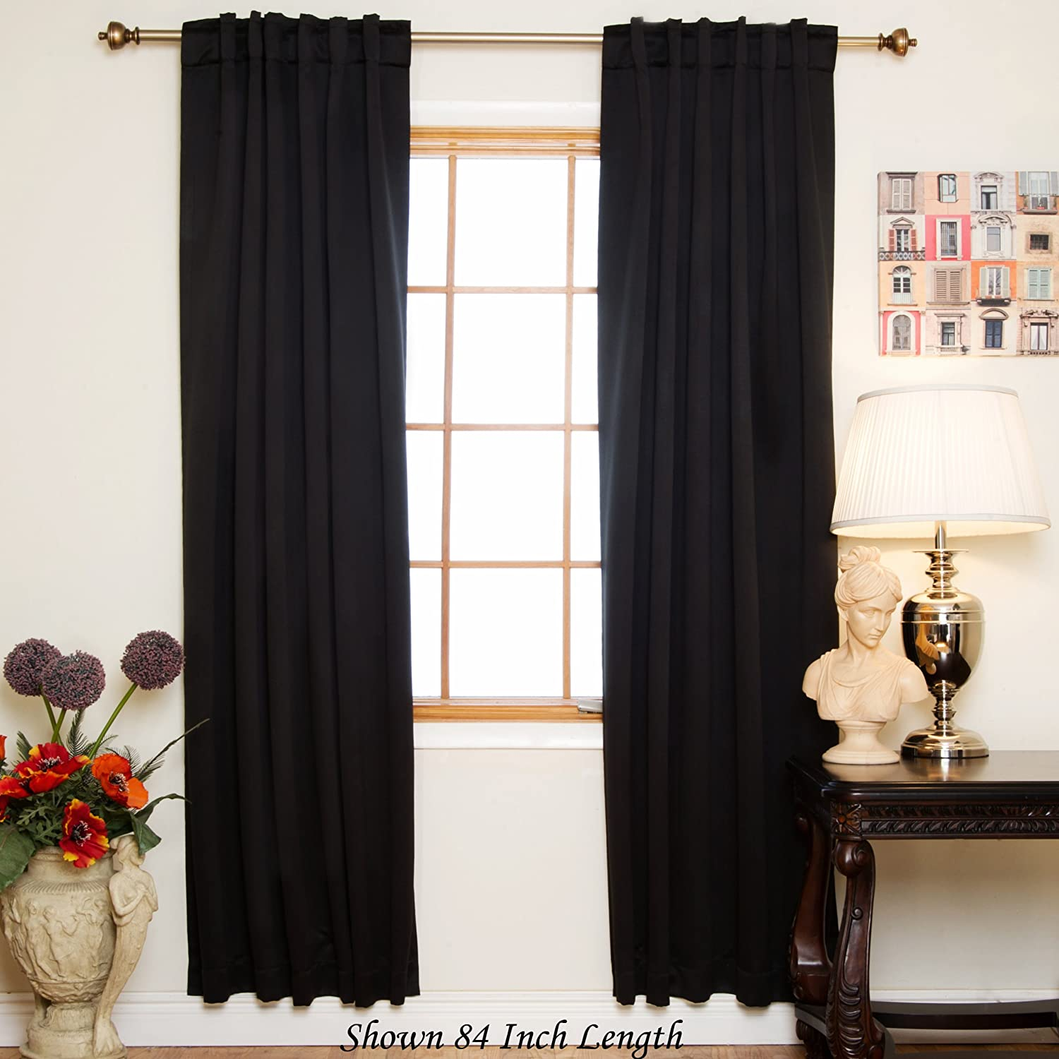 Amazon Blackout Curtain Black Rod Pocket Energy Saving Thermal Insulated 108 Inch Length Pair Home Kitchen