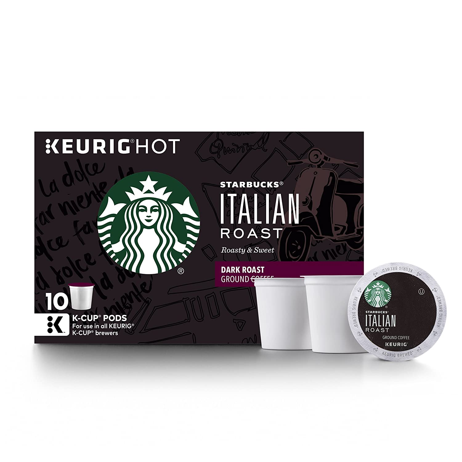 Starbucks Italian Roast Dark Roast Single Cup Coffee for Keurig Brewers, 6 Boxes of 10 (60 Total K-Cup pods)