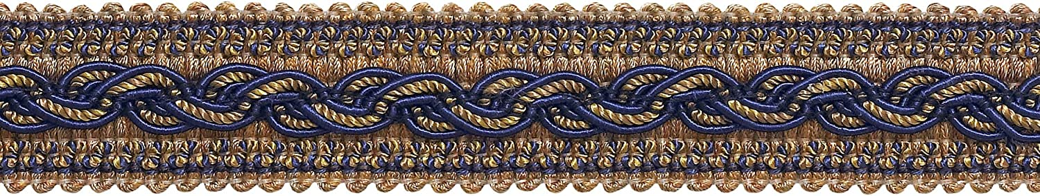 Navy Blue Taupe Baroque Collection Gimp Braid 7//8 inch Style# 0078BG Color D/ÉCOPRO 7 Yard Pack 5817 Navy Taupe
