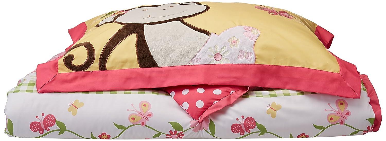 amazon com mizone kids monkey business 3 piece comforter set pink