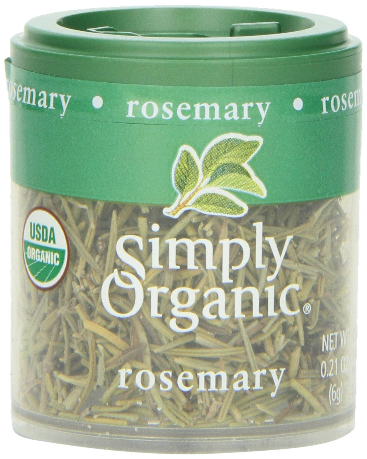 Simply Organic Rosemary Leaf Whole Certified Organic, 0.21-Ounce Containers (Pack of 6)