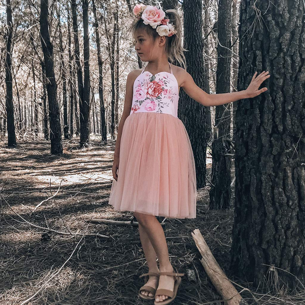 Toddler Kids Baby Girls Dress Floral Splice Tulle Party Pageant Princess Dresses
