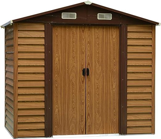 Outsunny - Herramienta de Almacenamiento para cobertizo de jardín de Acero, para Exteriores, Puerta corredera, Grano de Madera marrón: Amazon.es: Jardín