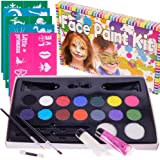 """Face Paint Kit with 50 Stencils, 14 Paints + 2 Glitter Gels """"Super Buggly Kit"""" By Bo Buggles Kids: Large 4 gram Professional Paints, 2 Brushes, 2 Sponges. Pro-Quality Non-Toxic Face Painting Palette"""