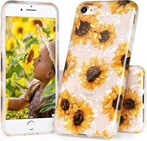 iPhone SE 2020 Case for Girls, IDYStar White Translucent Sparkle Clear Cheeath Design Cover, Lightweight Durable Soft Silicone Case for iPhone 6/6s/7/8/SE 2020, Sunflower
