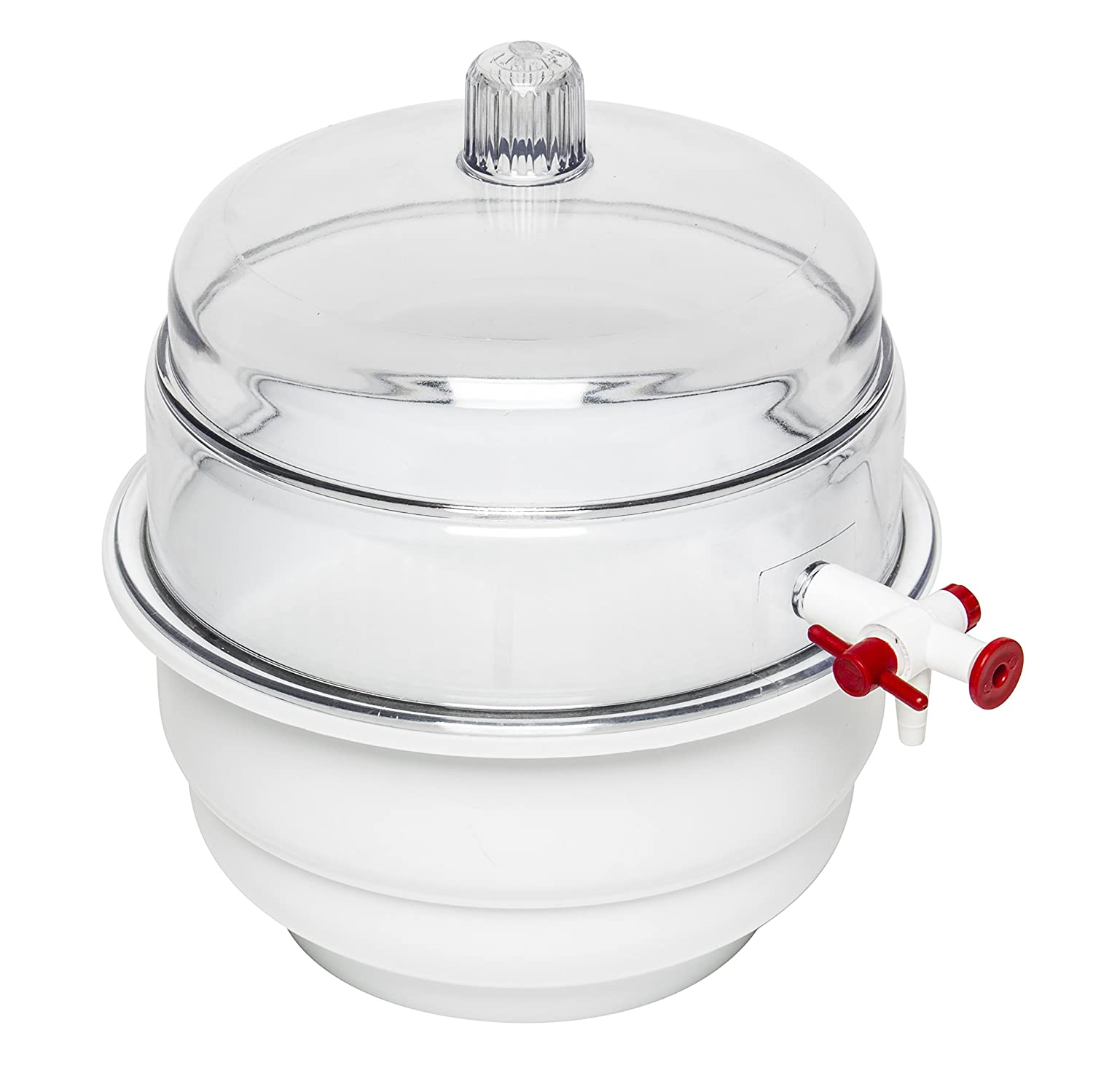 "Bel-Art""Space Saver"" Polycarbonate Vacuum Desiccator with White Polypropylene Bottom; 0.20 cu. ft. (F42020-0000) 819OHJkDTSL"