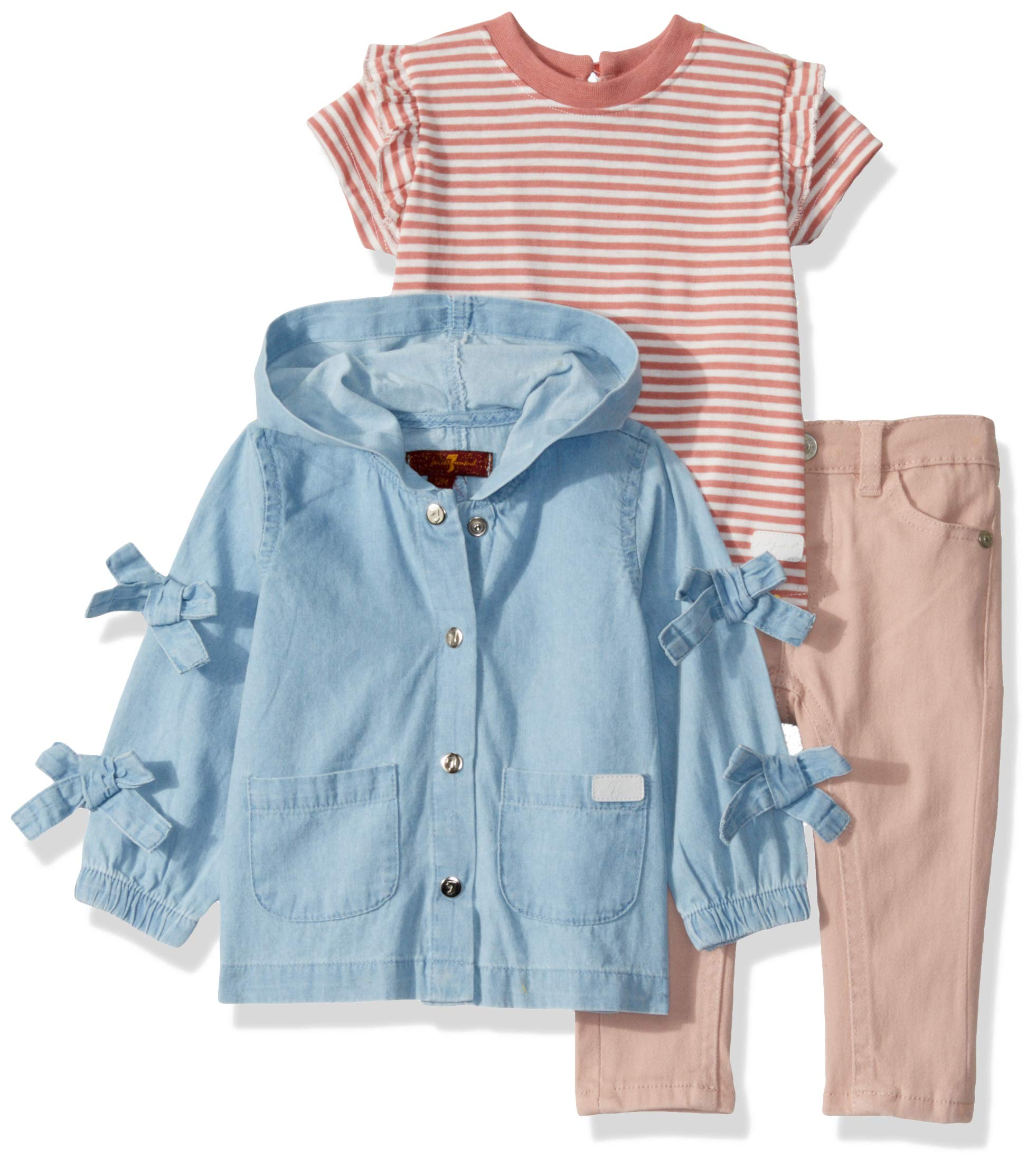 7 For All Mankind Baby Girls 3 Piece Set, Light Wash/Rosy Stirpe/Antique Pink, 18M by 7 For All Mankind