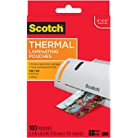 Scotch Thermal Laminating Pouches, 5 Mil Thick for Extra Protection, 4.3 Inches x 6.3 Inches, 100 Pouches (TP5900-100)