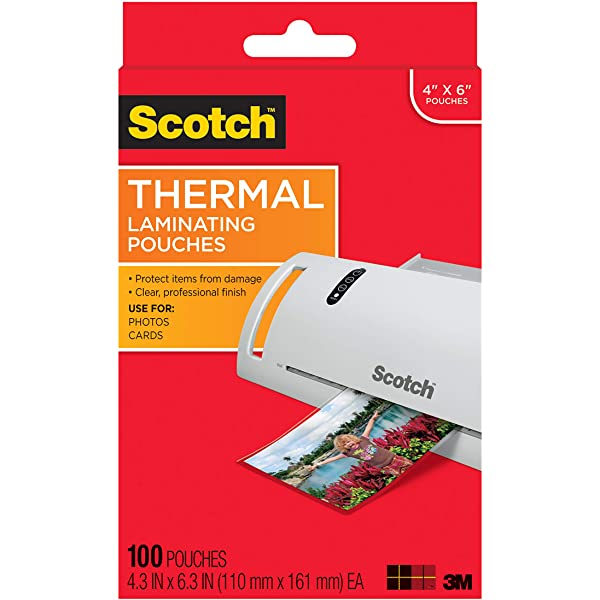 Scotch TP5854-50 Thermal Laminating Pouches 50-Pack .1 Item 50-Pack 8.9 x 11.4-Inches 5 mil Thick 5 Mil Thick for Extra Protection