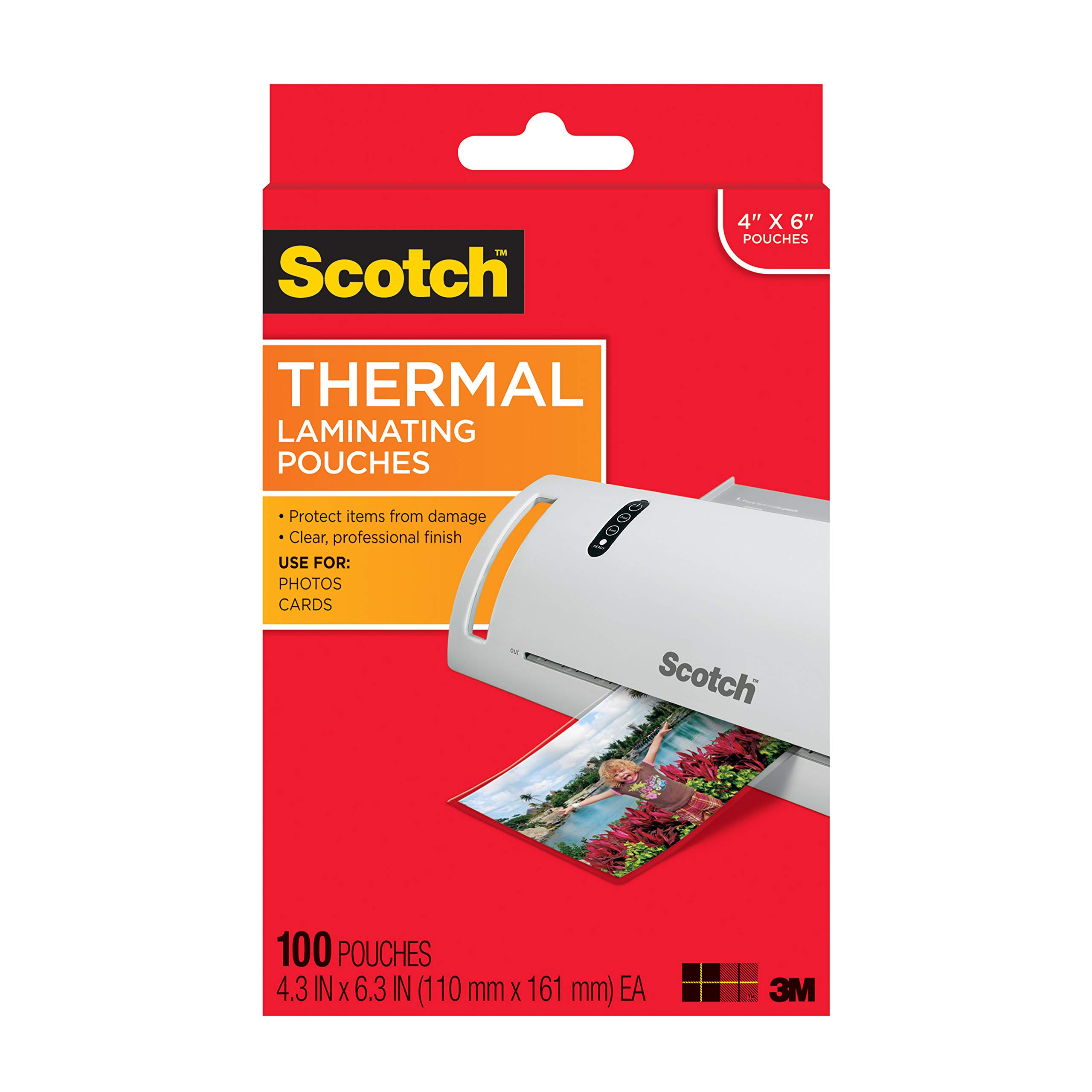 Scotch Thermal Laminating Pouches, 4.3 Inches x 6.3 Inches, 100 Pouches (TP5900-100) by Scotch Brand