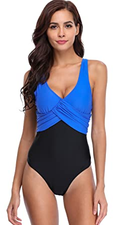 64df42f7a3 ATTRACO Women Swimming Costume One Piece Swimsuit Colour Block Bathing Suit:  Amazon.co.uk: Clothing