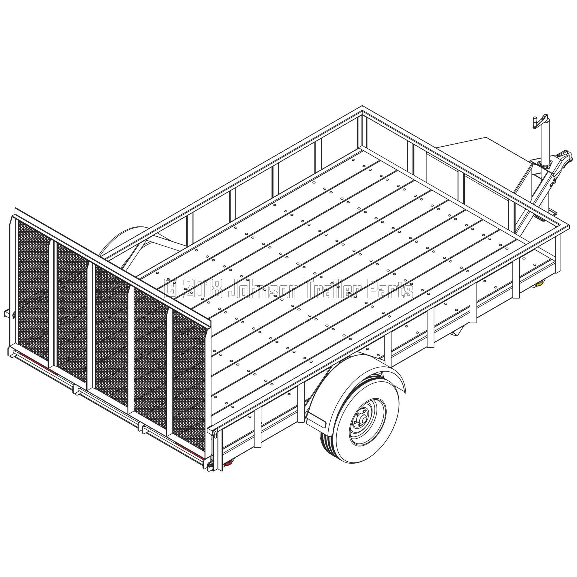 6′ 10'' x 12′ Utility Trailer Plans - 5,200 lb Capacity | Trailer Blueprints Model U82-144-52J by Johnson Trailer Parts